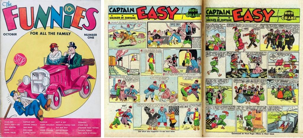 Omslag till The Funnies #1 (1936) och ett uppslag med Captain Easy. ©Dell/NEA