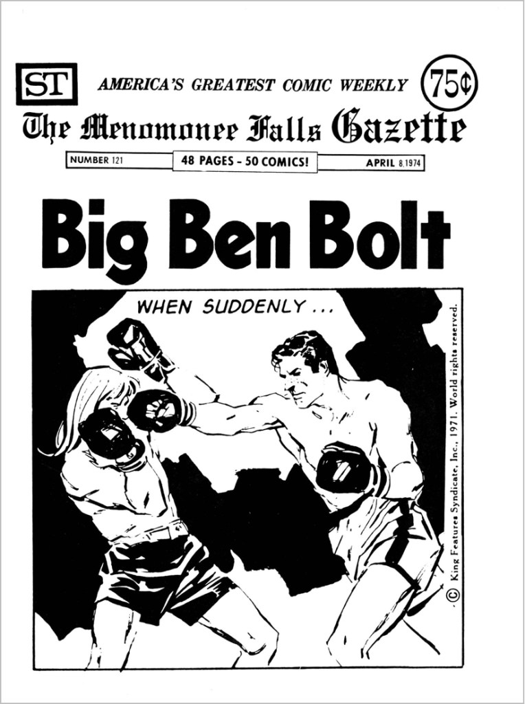 Omslag till Menomonee Falls Gazette #121 med Big Ben Bolt. ©Street Enterprises