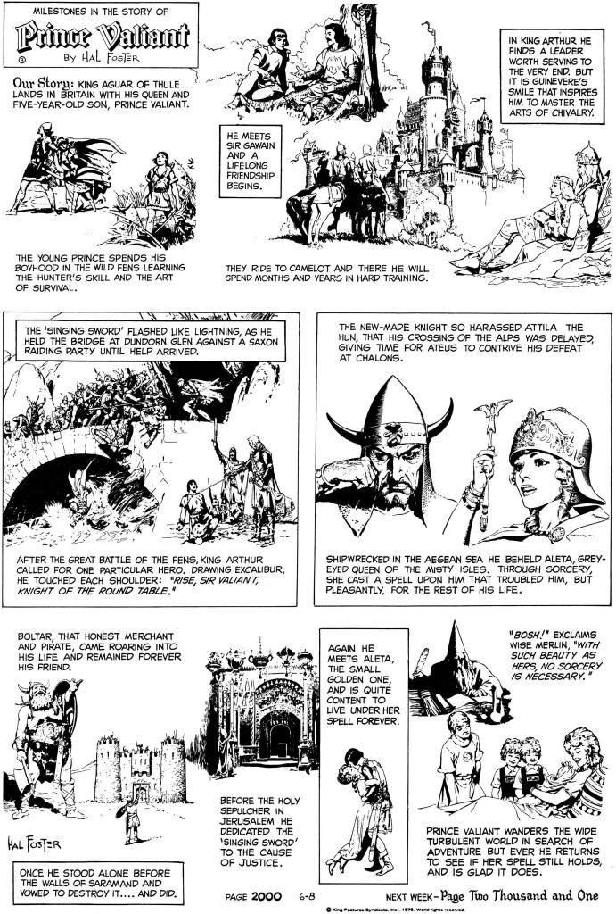 Söndagssidan #2000 från 8 juni 1975 var den sista som innehöll teckningar av Hal Foster.  ©KFS
