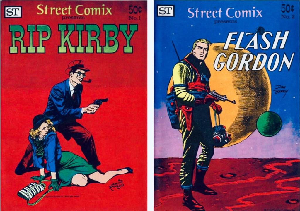 Omslag till Street Comics #1 och #2, med Rip Kirby och Flash Gordon. ©Street Enterprises