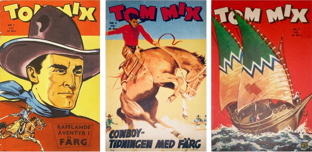 Omslag till tre första numren av Tom Mix från 1953. ©Serieförlaget