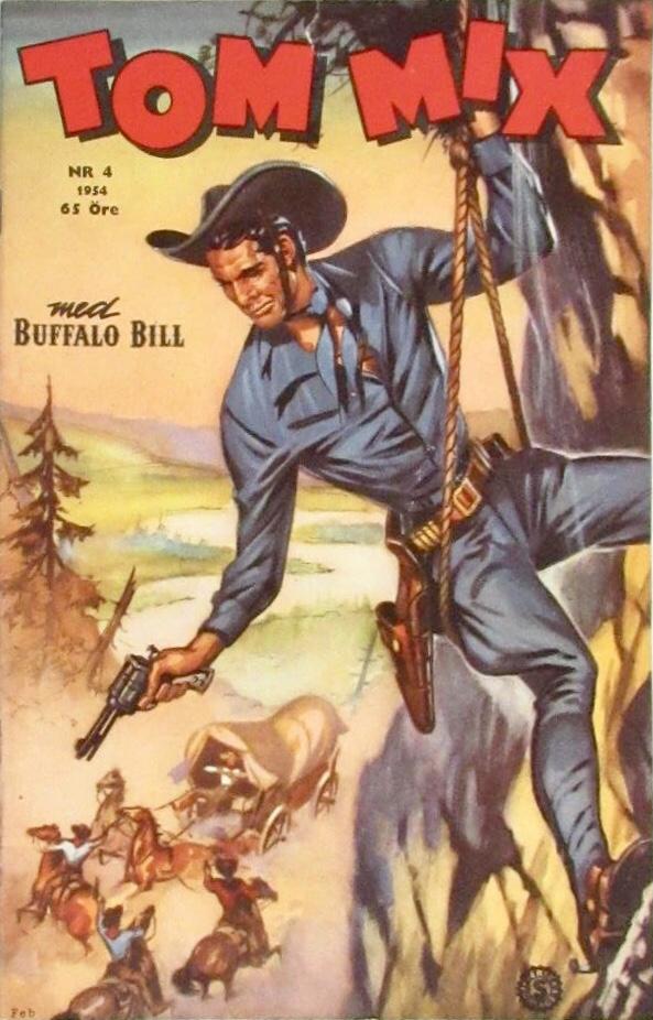 Omslag till Tom Mix nr 8, 1954. ©Serieförlaget