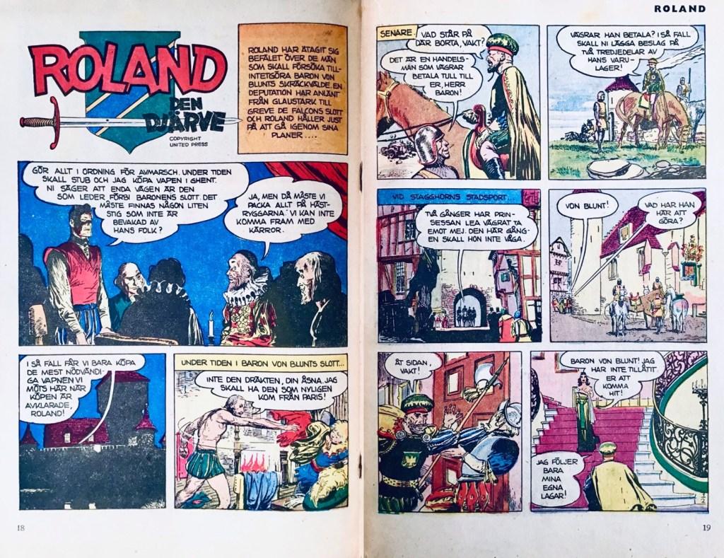 Inledande uppslag med Roland den djärve i Tom Mix nr 7/54. ©PIB/United