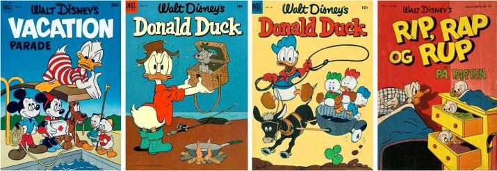 Omslag till Vacation Parade #3 (1952), Donald Duck #29 och #30 (1953) och Solo-hæfte #26 (1955). ©Dell/Disney/Gutenberghus