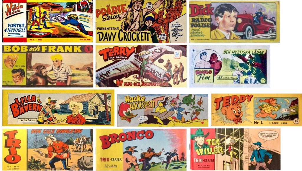 På 50-talet förekom det många små tidningar i checkhäftesformat. Prärieserier hade De tre bröderna Bill, och Kinowa, innan Davy Crockett. Trio bytte utseende och innehåll med Bronco och Tex Willer.