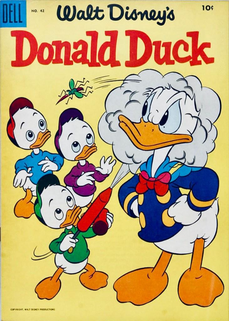 Omslag till Walt Disney's Donald Duck #42 (1955). ©Dell/Disney
