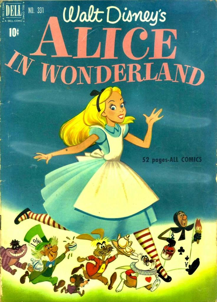Omslag till Four Color Comic #331 (1951), Alice in Wonderland. ©Dell/Disney