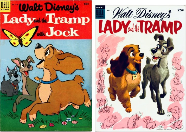 Omslag till Four Color Comic #629 och Lady and the Tramp #1 (båda 1955). ©Dell