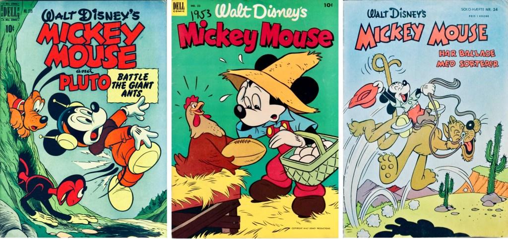 Omslag från Four Color Comic #279 (1950), Mickey Mouse #32 (1953) och Solo-hæfte nr 24 (1955). ©Dell/Disney/Gutenberghus