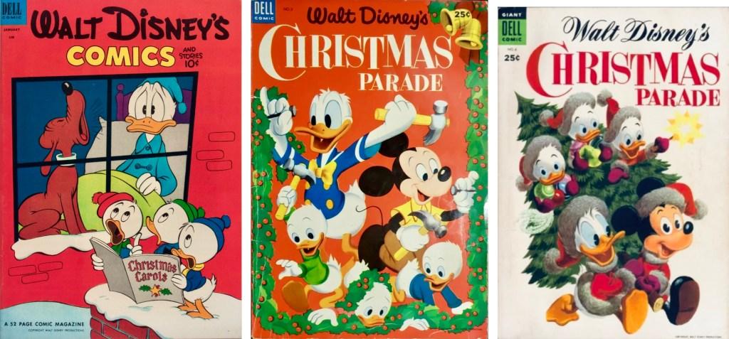 Omslag till Walt Disney's Comics & Stories #148 (1953), Christmas Parade #5 (1953) och #6 (1954). ©Dell/Disney
