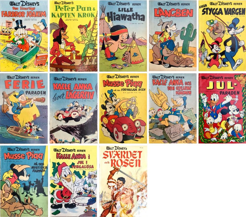 År 1954 utkom tolv nummer med Walt Disney's serier, och en serieadaption av en film. ©Richters/Disney