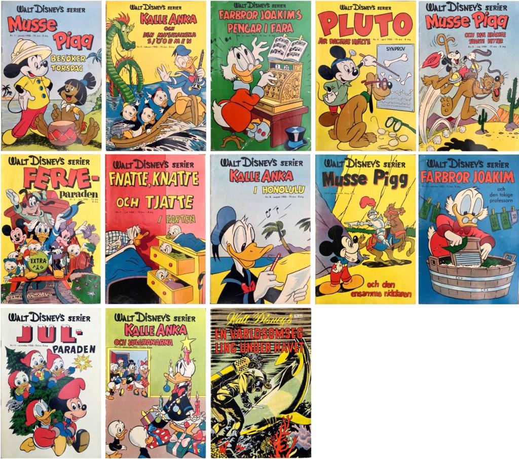 År 1955 utkom tolv nummer med Walt Disney's serier. ©Richters/Disney