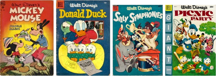 Omslag till Four Color Comic #181 (1947), Donald Duck #44 (1955), Silly Symphonies #4 (1954) och Picnic  Party #6 (1955). ©Dell/Disney