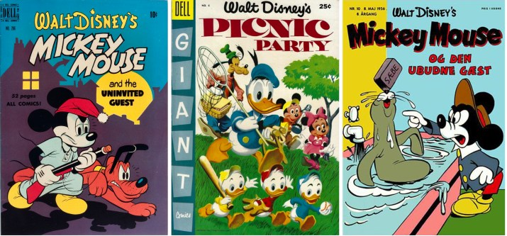 Omslag till Four Color Comic #286 (1950), Picnic Party #6 (1955) och Anders And & Co nr 10, 1956. ©Dell/Disney