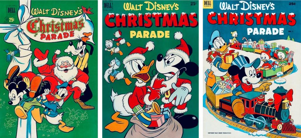 Omslag till Walt Disney's Christmas Parade #2, #3 och #4 (1950-52). ©Dell/Disney