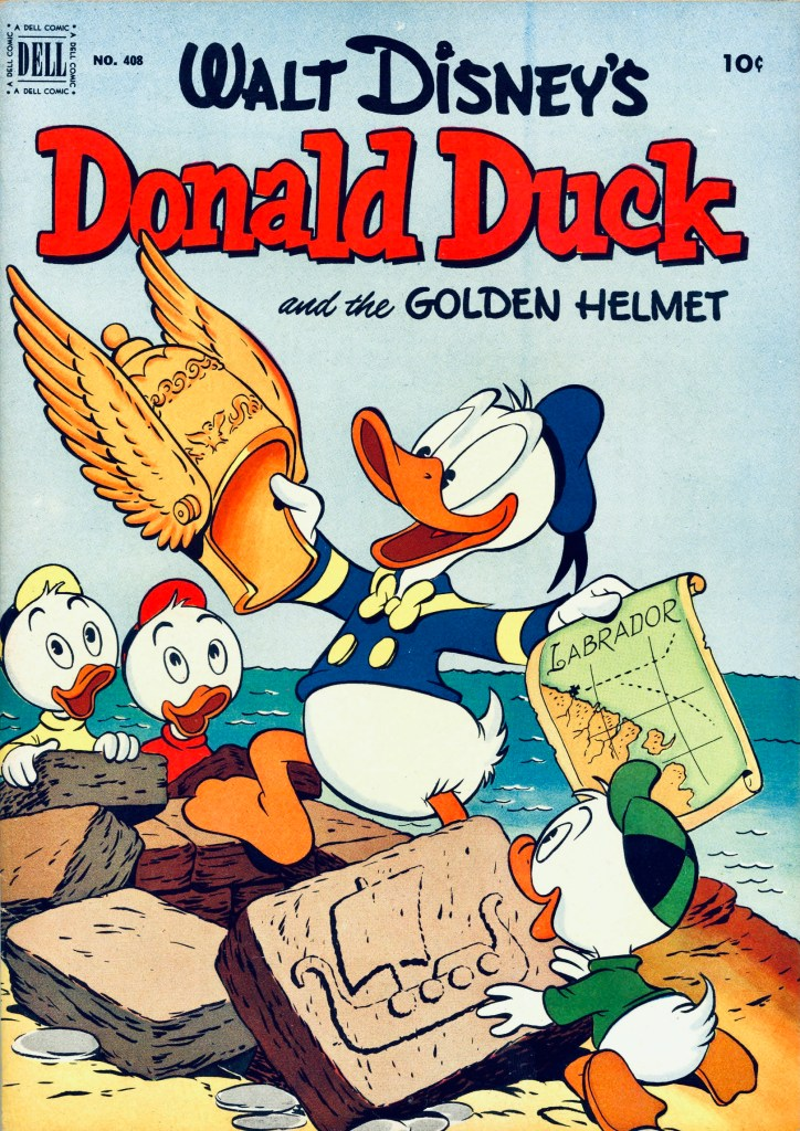 Omslag till Four Color Comic #408 (1952), Walt Disney's Donald Duck and the Golden Helmet. ©Dell/Disney