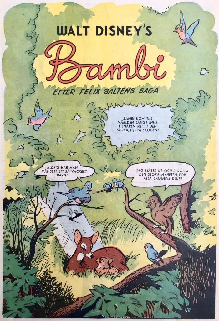 Inledande sida till Bambi. ©Disney