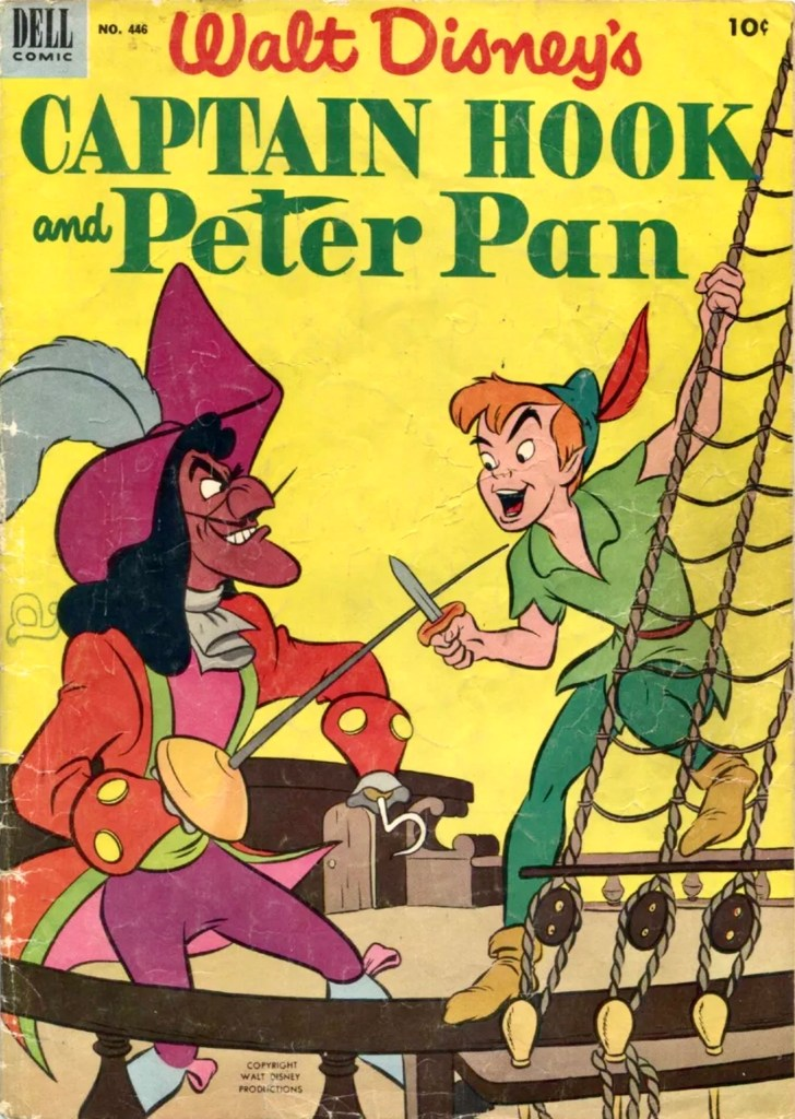 Omslag till Four Color Comic #446 (1952), Captain Hook and Peter Pan. ©Dell/Disney