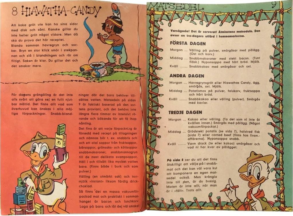 Sidan 8-9: Hiawatha-Candy, Matsedel. ©Hemmets Journal