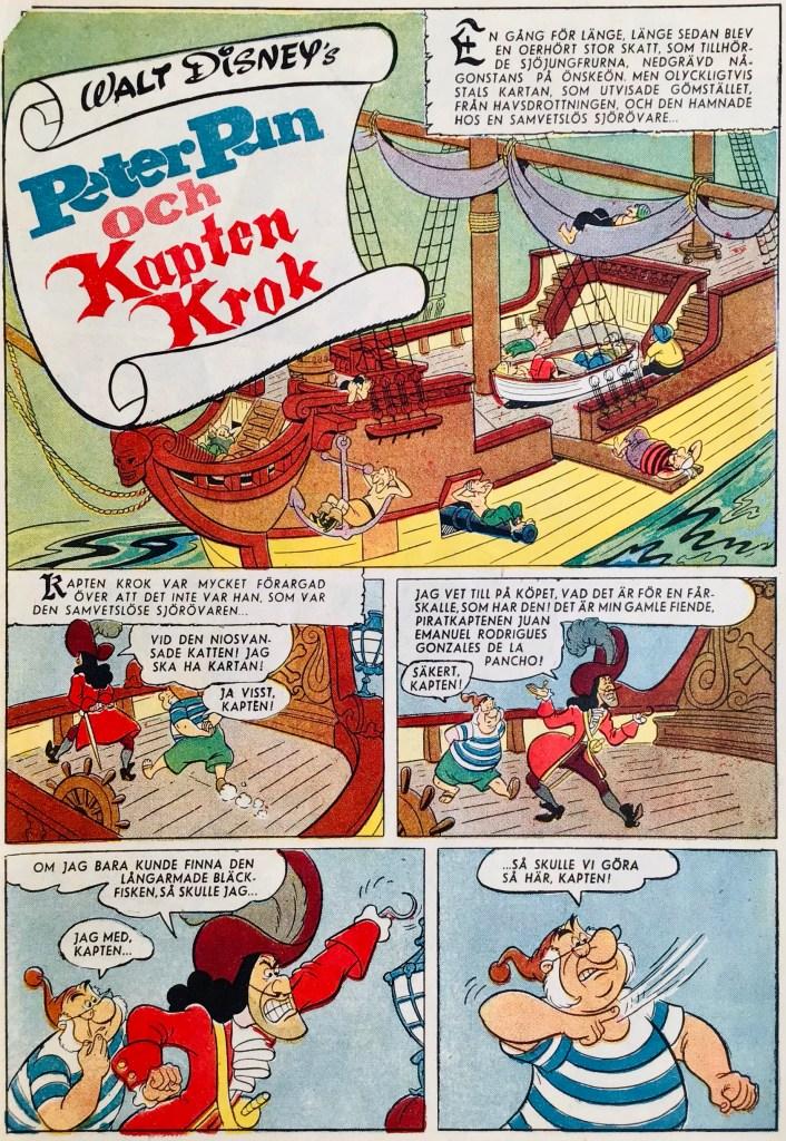 Inledande sida ur Peter Pan och Kapten Krok. ©Disney