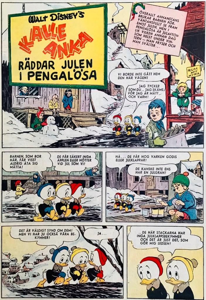 Inledande sida ur Kalle Anka räddar julen i Pengalösa. ©Disney