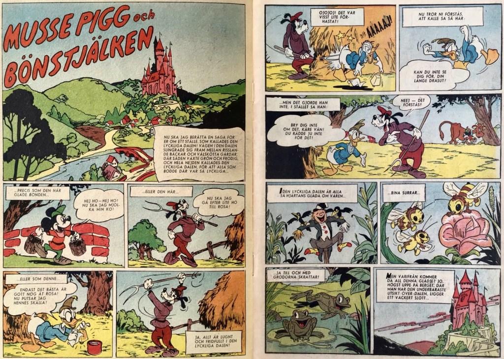 Inledande uppslag ur Kalle Anka & C:o nr 1B, 1953 med Musse Pigg och bönstjälken som börjar redan på omslagets insida. ©Disney