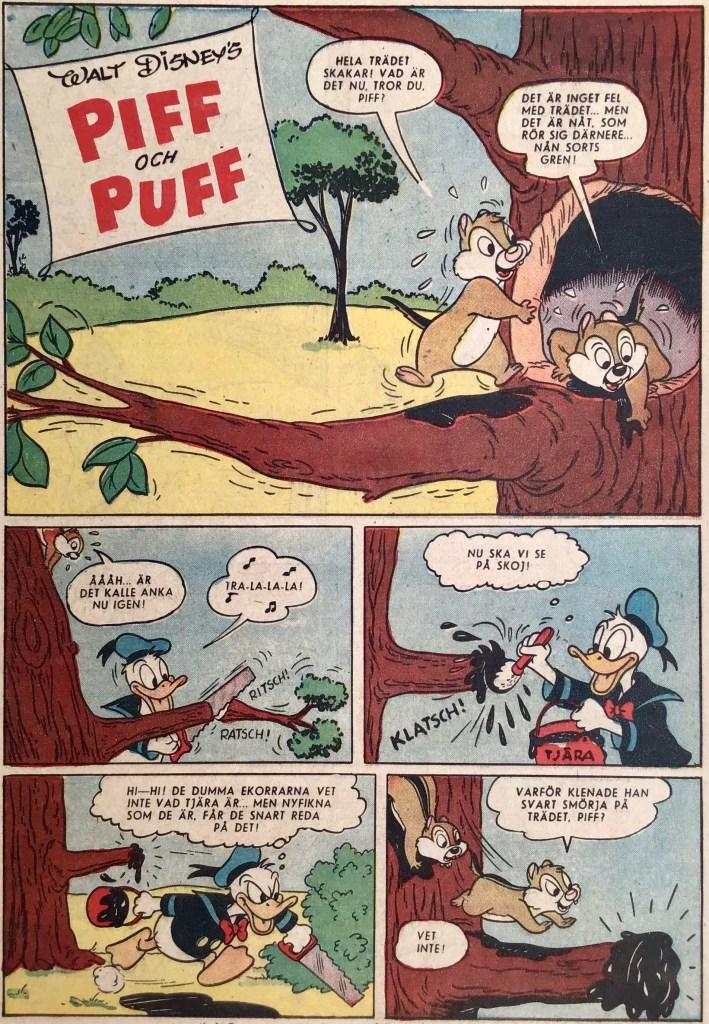 Inledande sida ur den första serien med Piff och Puff. ©Disney