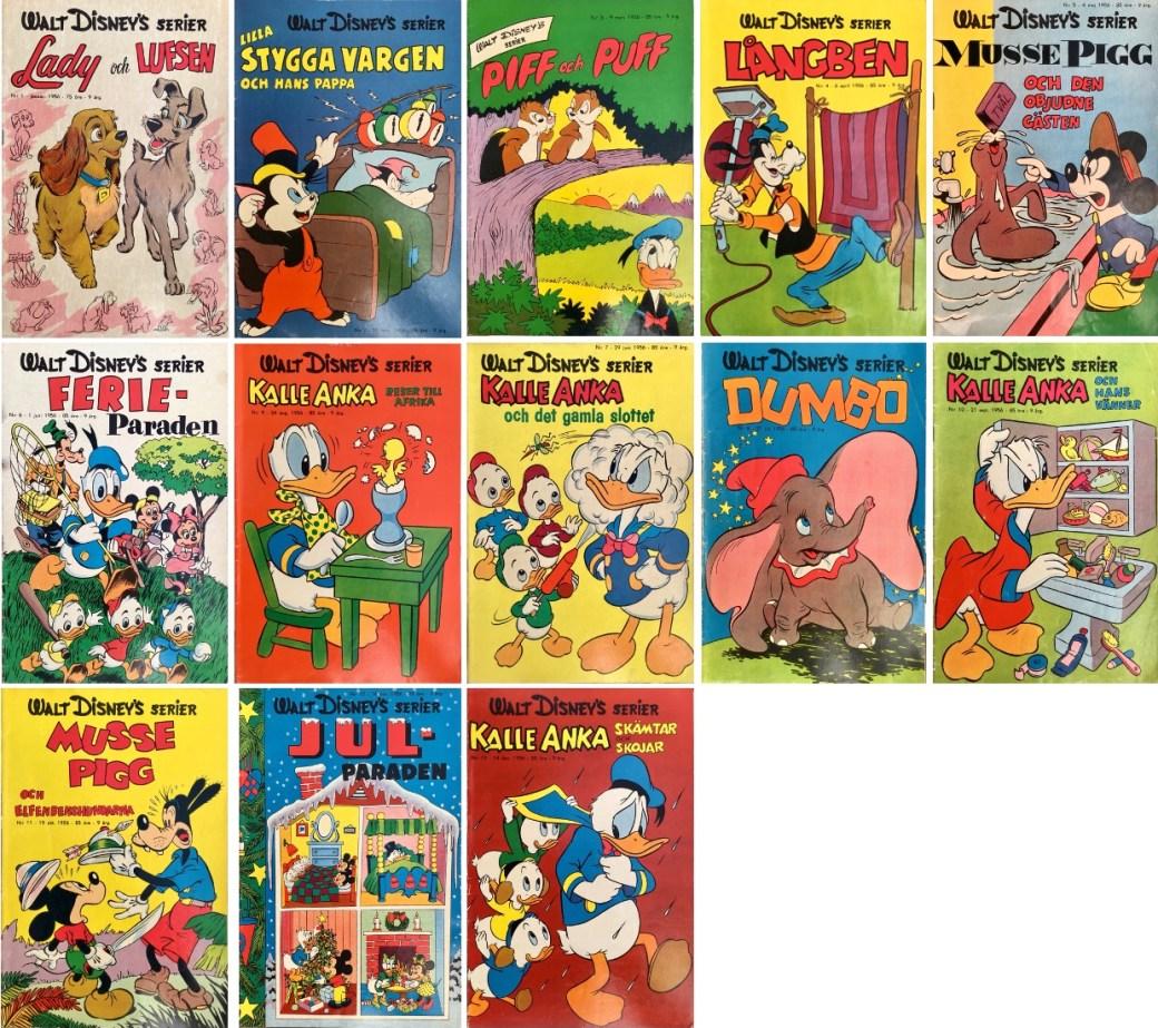 År 1956 utkom tretton nummer av Walt Disney's serier. ©Richters/Disney