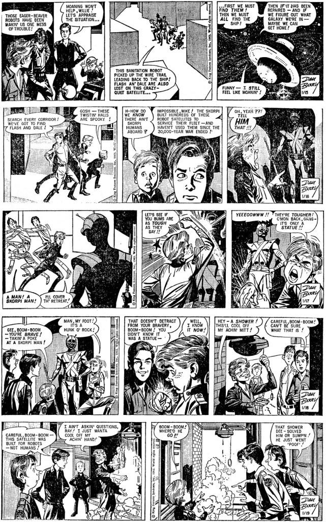 Motsvarande dagsstrippar i original från veckan 15-19 januari 1963. ©KFS