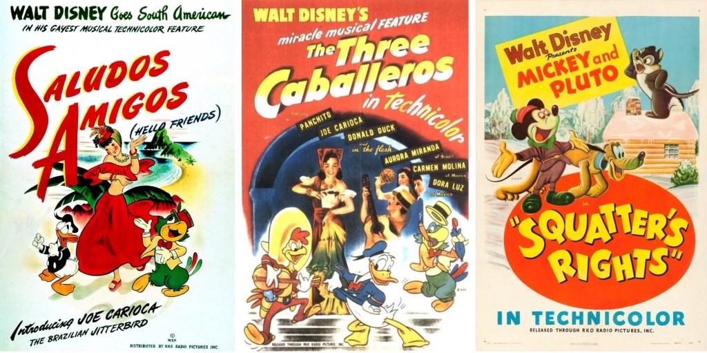 Filmaffischer från Saludos Amigos (1943), The Three Caballeros (1944) och Squatter's Rights (1946). ©RKO/Disney