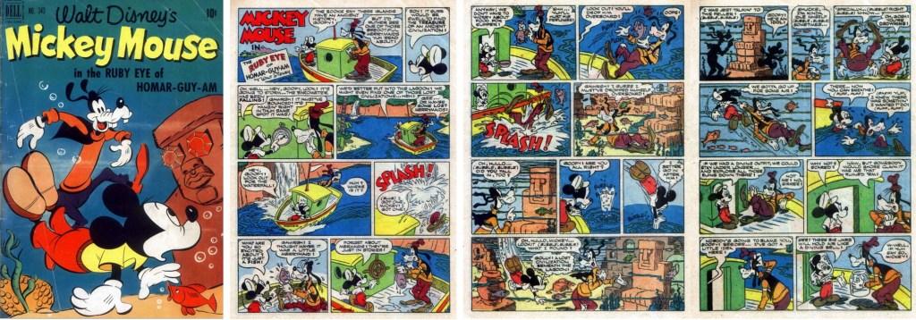 Omslag till Four Color Comic #343 (1951), Mickey Mouse in the Ruby Eye of Homar-Guy-Am, och inledande sidor. ©Dell/Disney