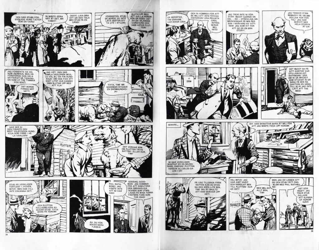 Ett till uppslag med Mitzi McCoy i Seriemagasinet nr 13, 1977. ©NEA