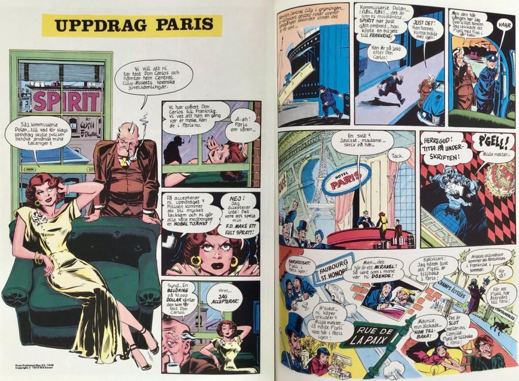 Inledande uppslag ur episoden Uppdrag: Paris ur Spirit (1976). ©Eisner