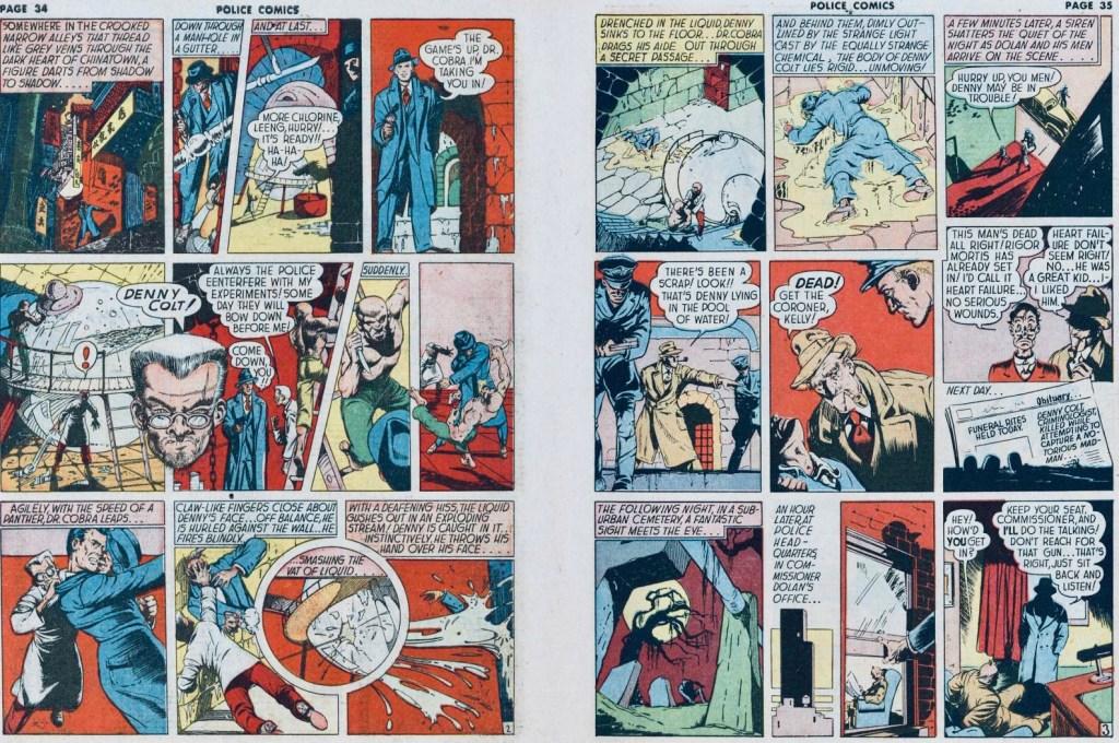 Ett uppslag med Spirit ur Police Comics #11 (1942) . ©Eisner