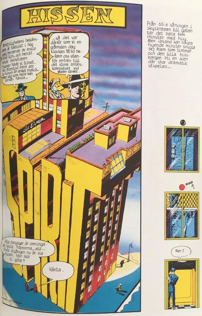Inledande sida ur episoden Hissen ur Spirit (1976). ©Eisner