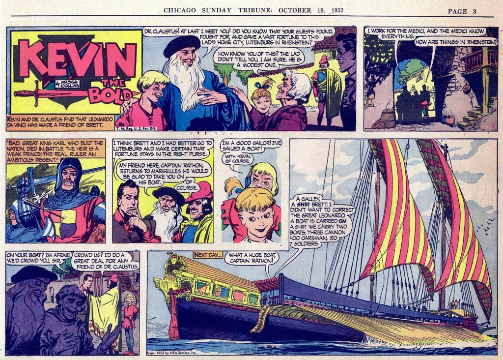 Motsvarande söndagssida (halvsida) med Kevin the Bold, från 19 oktober 1952. ©NEA
