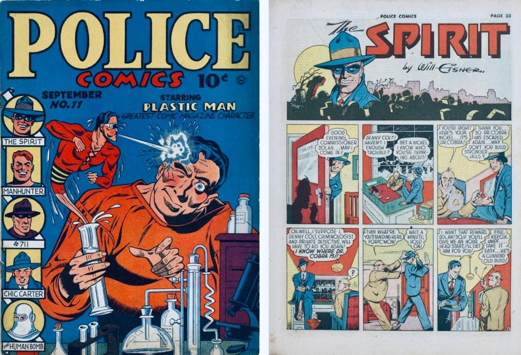 Omslag till Police Comics #11 (1942) och inledande sida med Spirit. ©Quality/Eisner