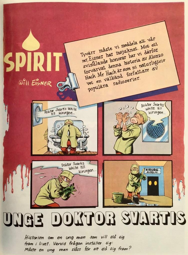 Inledande sida ur episoden Unge Dr. Svartis, ur Spirit 2. ©Eisner