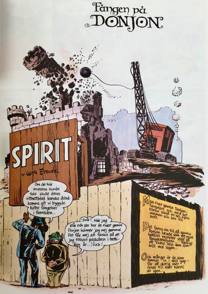 Inledande sida ur Spirit 3, ur episoden Fången på Donjon. ©Eisner