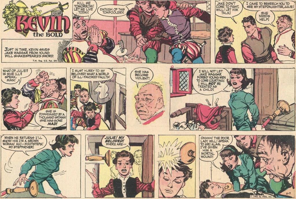 Motsvarande söndagssida (halvsida) med Kevin the Bold, från 7 februari 1965. ©NEA