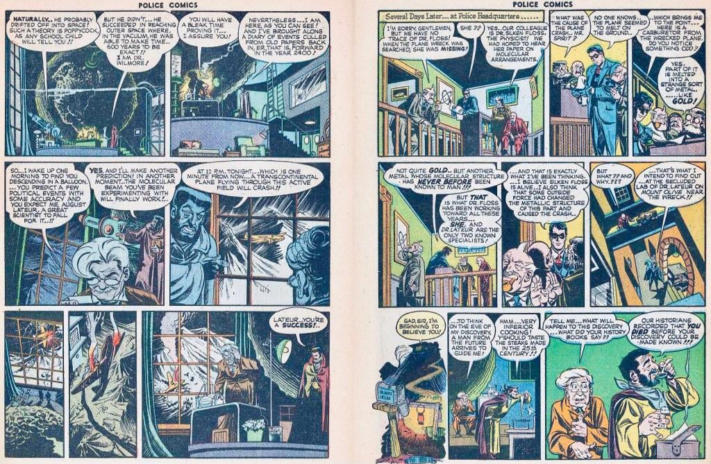 Ett uppslag ur Spirit-episoden. ©Comic Magazines/Eisner