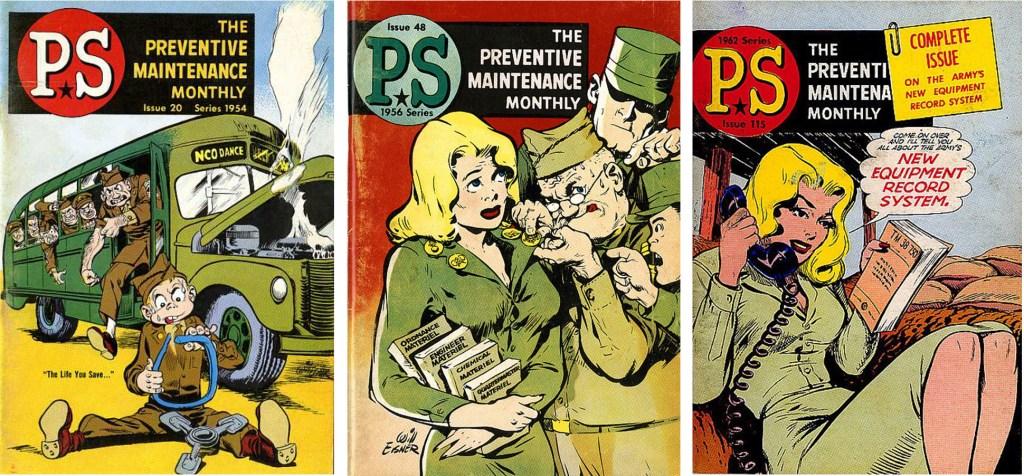 Omslag av Will Eisner till PS, The Preventive Maintenance Monthly #20 (1954), #48 (1956) och 115 (1962). ©US DA