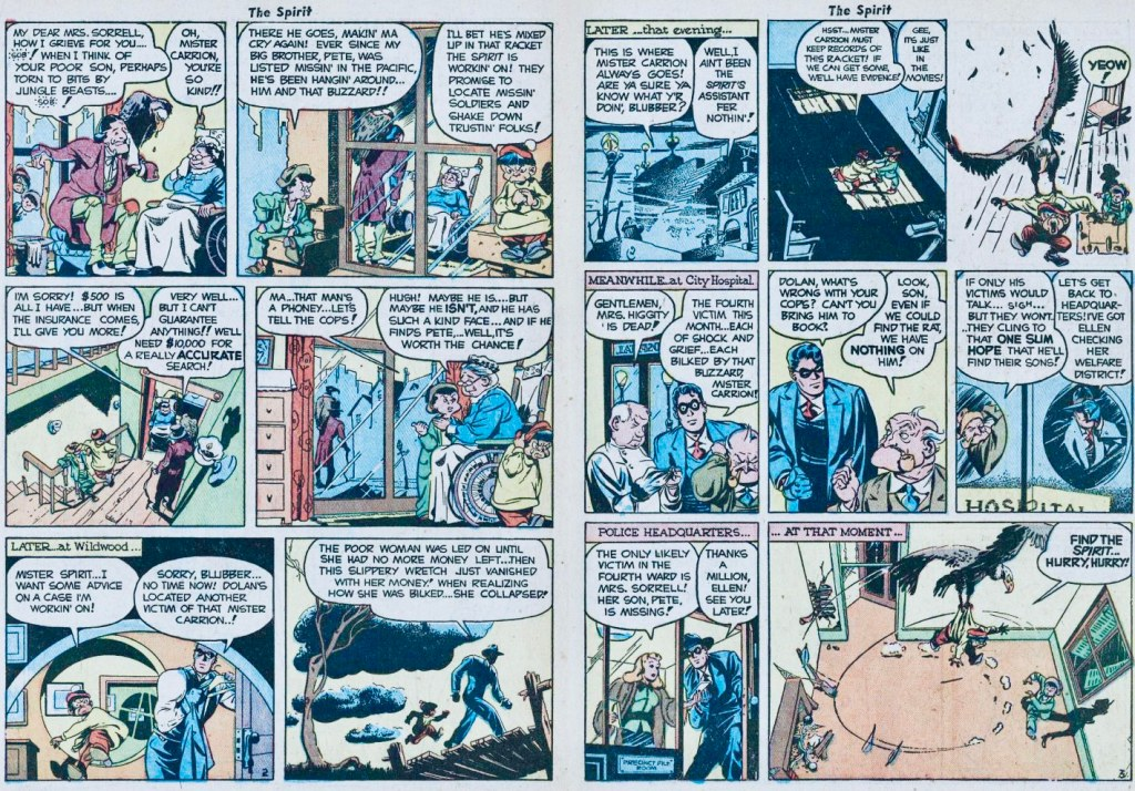 Ett första uppslag ur The Chase of the Baldy Buzzard. ©Arnold/Eisner