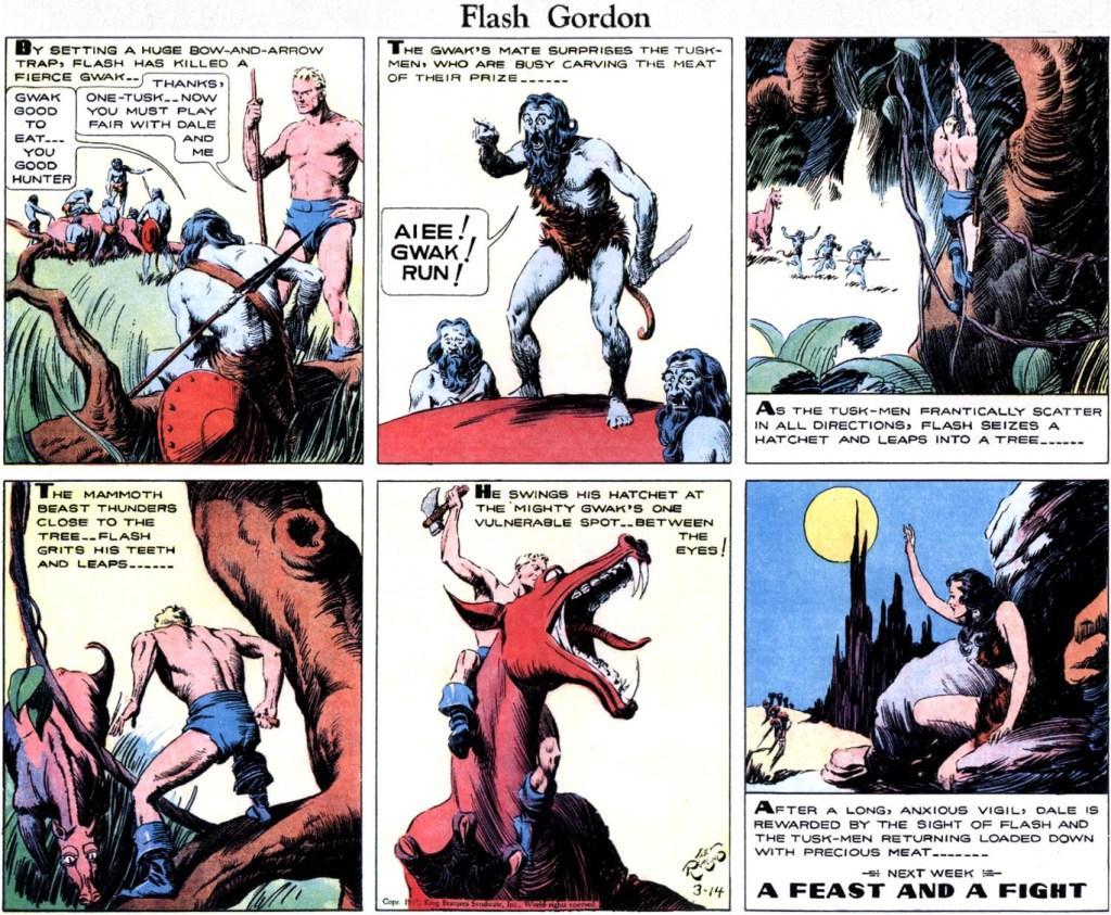 Serierutan är ur Flash Gordon från 14 mars 1937. ©KFS
