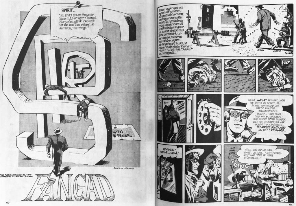 Inledande uppslag till episoden Fångad ur Fantomen nr 10, 1989. ©Eisner