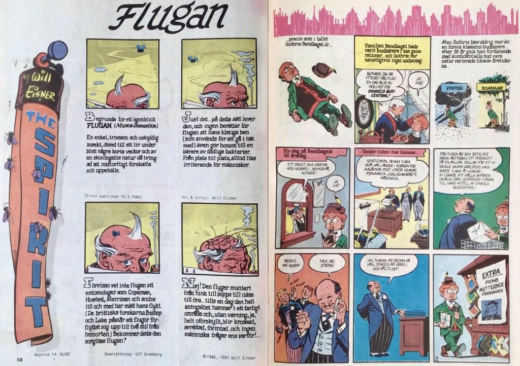 Inledande uppslag ur Fantomen nr 11, 1991. ©Eisner