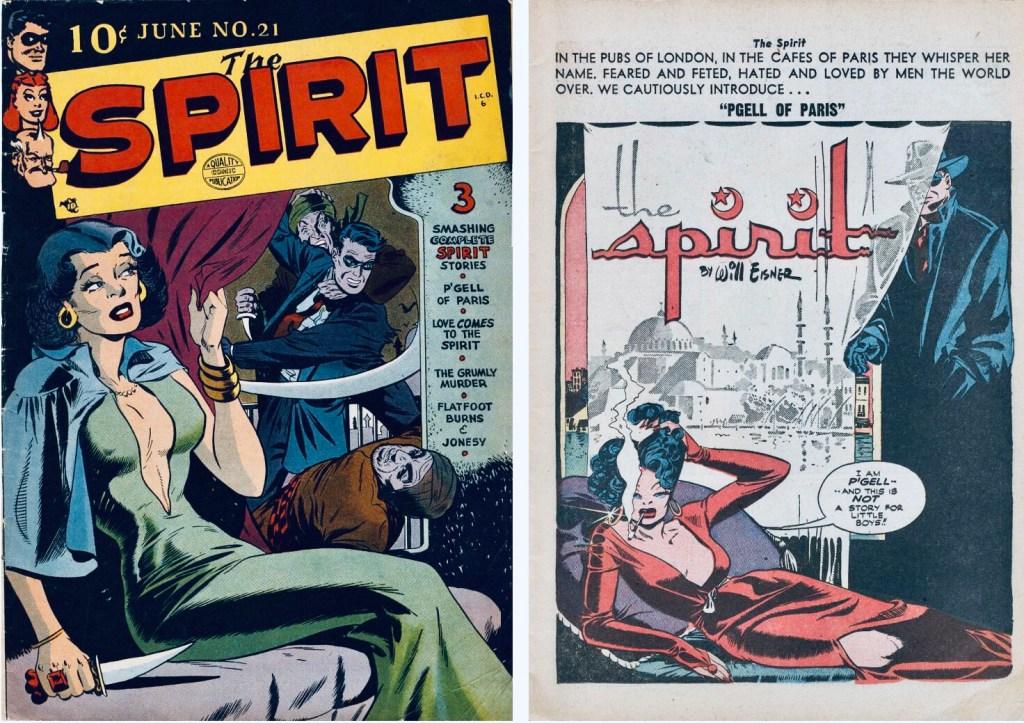 Omslag till The Spirit #21 (1950) och inledande sida ur Spirit. ©Quality/Eisner