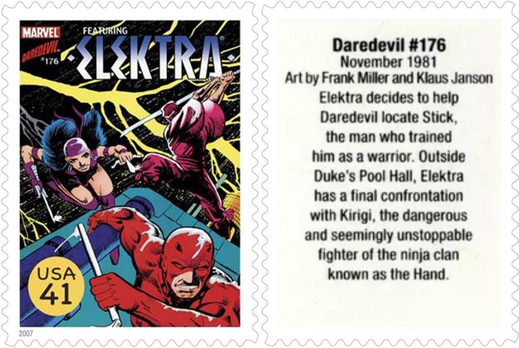 Frimärket med Daredevil #176 (1981). ©USPS/Marvel