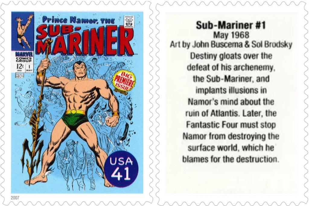 Frimärket med Sub-Mariner #1 (1968). ©USPS/Marvel