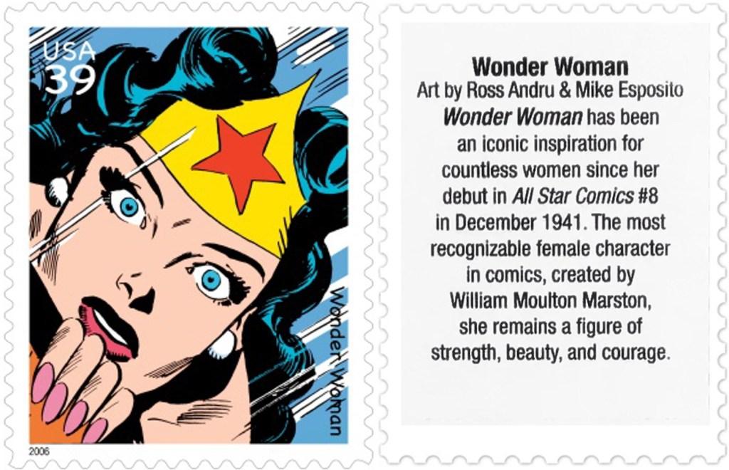 Frimärket med Wonder Woman (2006). ©USPS/DC
